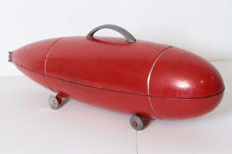 Enameled Machine Age Art Deco Streamline Blackhawk Tool Box, Zeppelin, Torpedo, Bomb