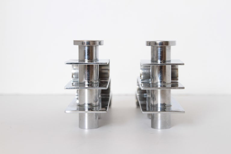 Machine Age Art Deco Streamline Candelabra, Matched Pair, Extreme Build Quality For Sale 3