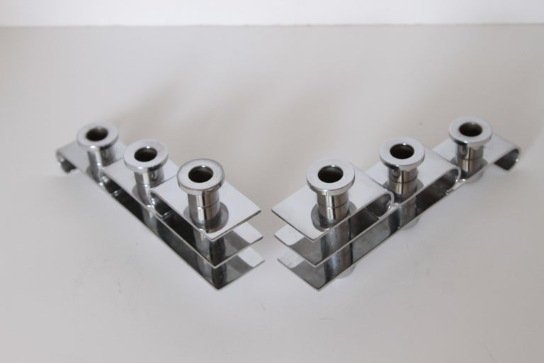Machine Age Art Deco Streamline Candelabra, Matched Pair, Extreme Build Quality For Sale 4