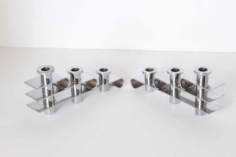 Plated Machine Age Art Deco Streamline Candelabra, Matched Pair, Extreme Build Quality For Sale