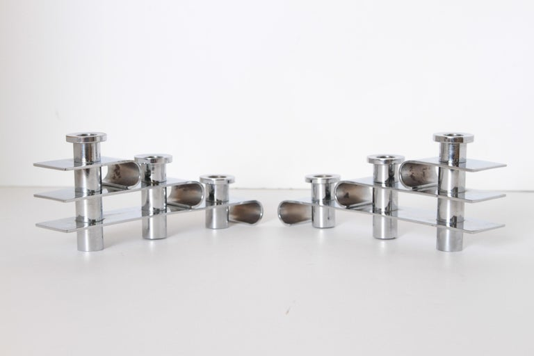 Machine Age Art Deco Streamline Candelabra, Matched Pair, Extreme Build Quality In Good Condition For Sale In Dallas, TX