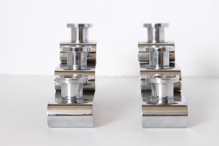 Steel Machine Age Art Deco Streamline Candelabra, Matched Pair, Extreme Build Quality For Sale