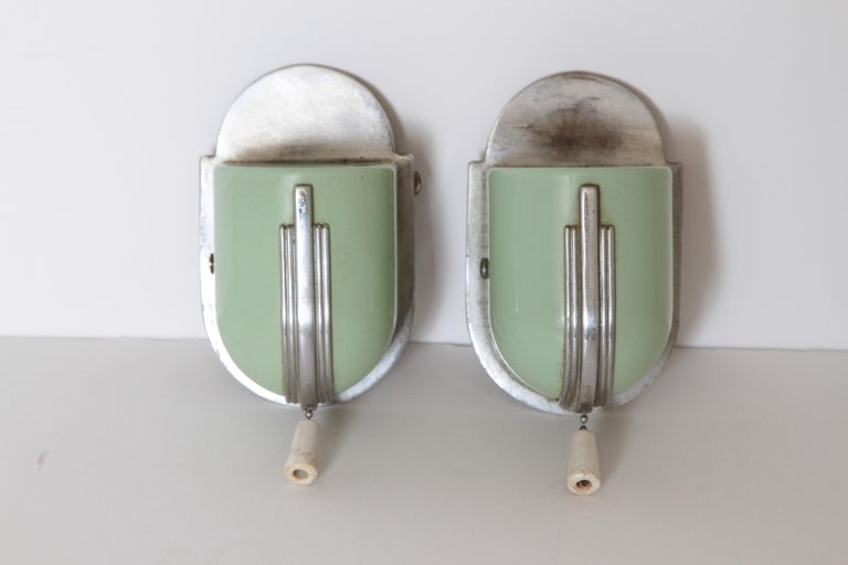 Machine Age Art Deco Streamline Wall Fixtures Bathroom