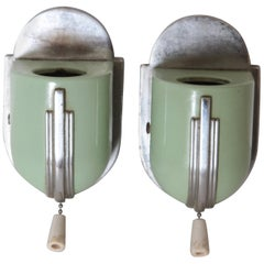 Machine Age Art Deco Streamline Wall Fixtures Bathroom Sconces