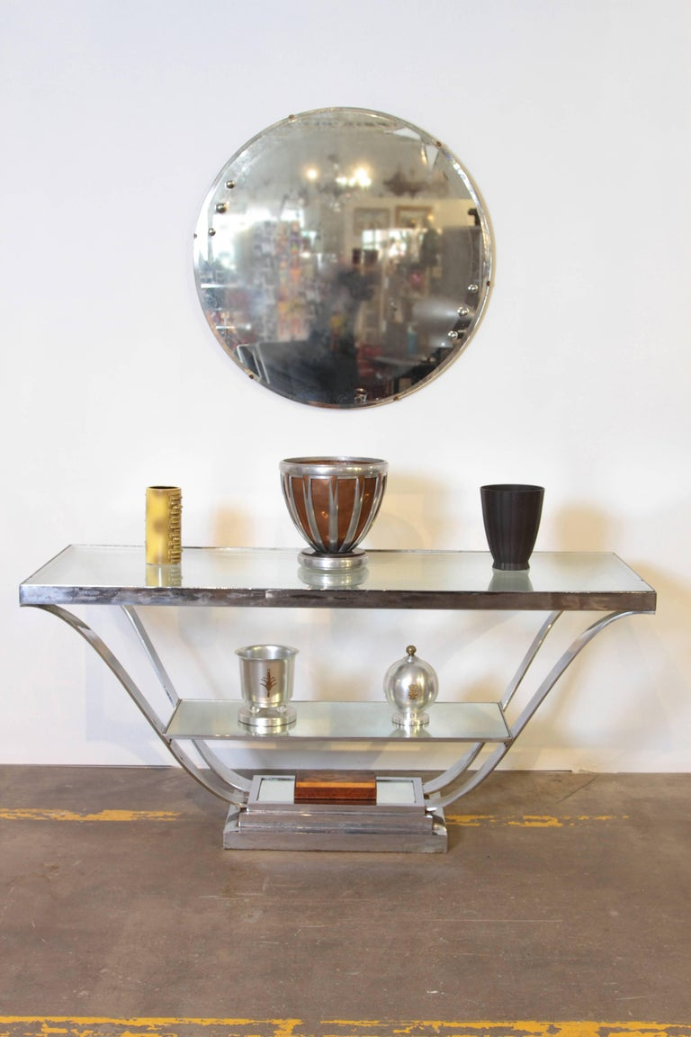 Machine Age Art Deco Streamline Wall Mirror, Manner of Donald Deskey, with Bevel For Sale 4