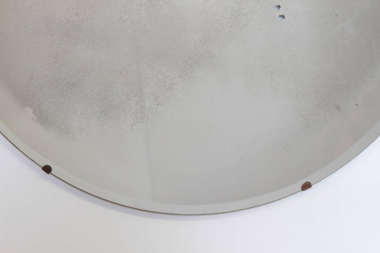 Glass Machine Age Art Deco Streamline Wall Mirror, Manner of Donald Deskey, with Bevel For Sale