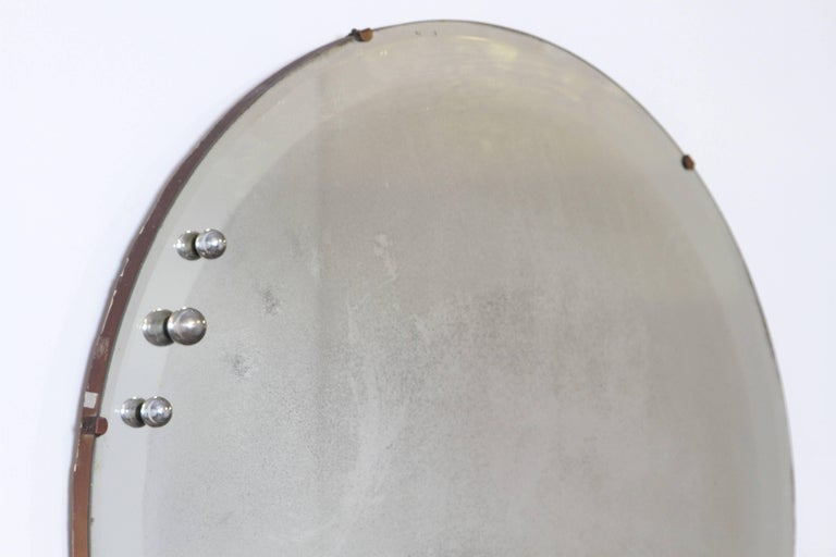 Machine Age Art Deco Streamline Wall Mirror, Manner of Donald Deskey, with Bevel For Sale 2