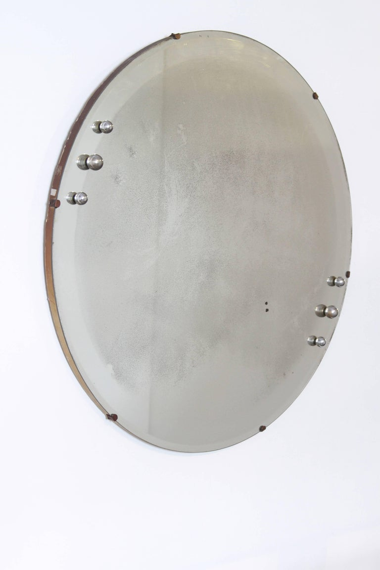 Machine Age Art Deco Streamline Wall Mirror, Manner of Donald Deskey, with Bevel For Sale 3