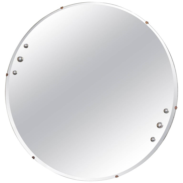 Machine Age Art Deco Streamline Wall Mirror, Manner of Donald Deskey, with Bevel For Sale
