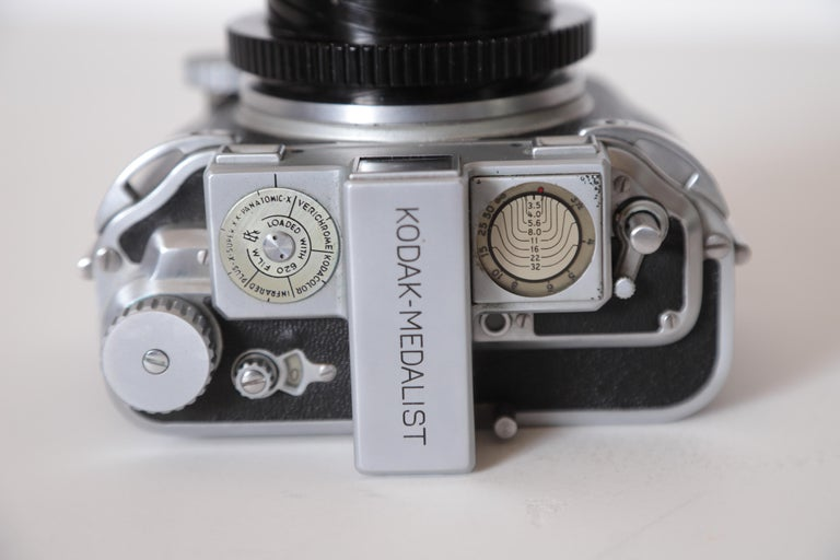 Machine Age Art Deco Walter Dorwin Teague Kodak medalist camera with case   Modernist   Streamline  If you are into Teague's early Industrial designs, this is a relatively difficult to find example, designed in 1941.  Extreme Machine Age design.