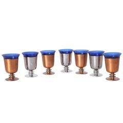 Machine Age Art Deco Walter Von Nessen Cocktail Cups Set of Seven Copper Chrome
