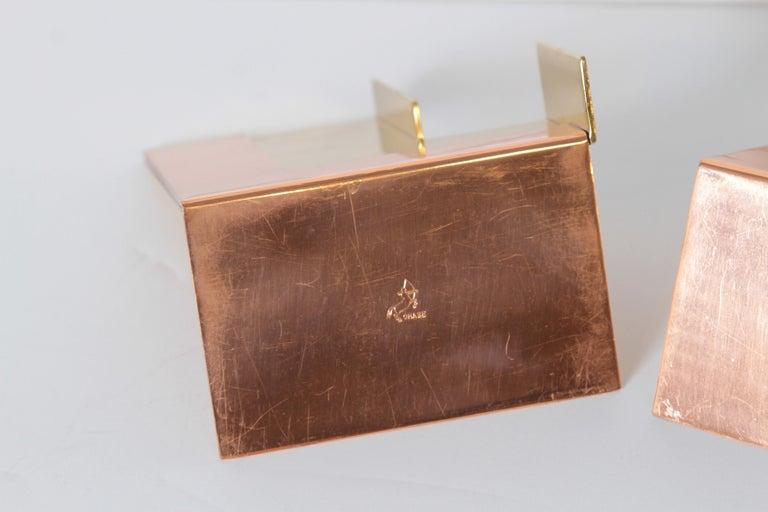 Machine Age Art Deco Walter Von Nessen for Chase Moderne Bookends Copper / Brass For Sale 6