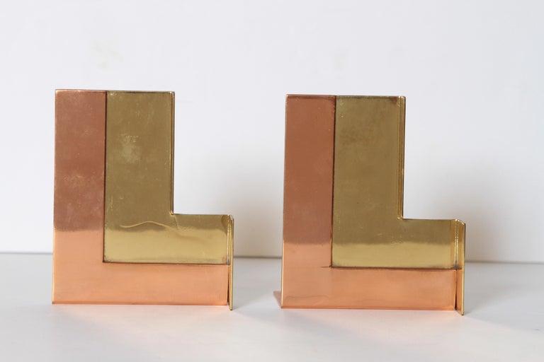 Machine Age Art Deco Walter Von Nessen for Chase Moderne Bookends Copper / Brass For Sale 8