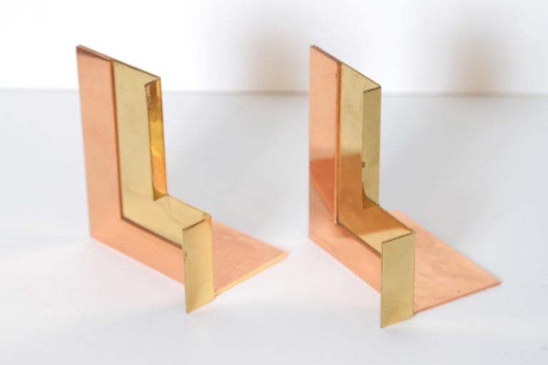 Machine Age Art Deco Walter Von Nessen for Chase Moderne Bookends Copper / Brass  The rare
