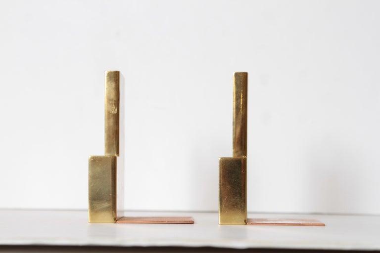 Machine Age Art Deco Walter Von Nessen for Chase Moderne Bookends Copper / Brass For Sale 1
