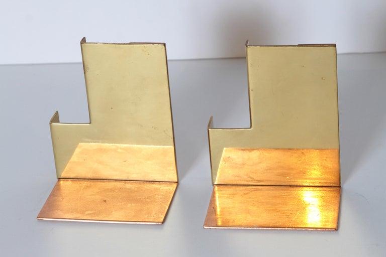 Machine Age Art Deco Walter Von Nessen for Chase Moderne Bookends Copper / Brass For Sale 2