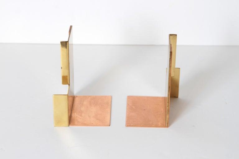 Machine Age Art Deco Walter Von Nessen for Chase Moderne Bookends Copper / Brass For Sale 3