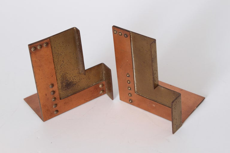 Machine Age Art Deco Walter Von Nessen for Chase Moderne Bookends For Sale 4