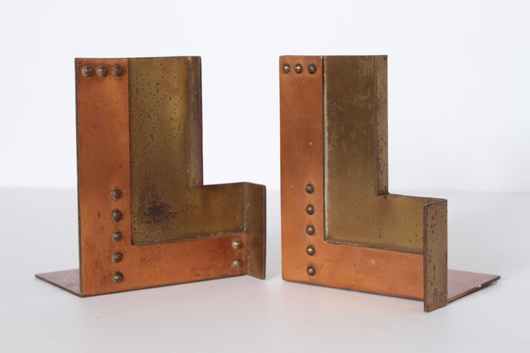 Machine Age Art Deco Walter Von Nessen for Chase Moderne Bookends For Sale 5