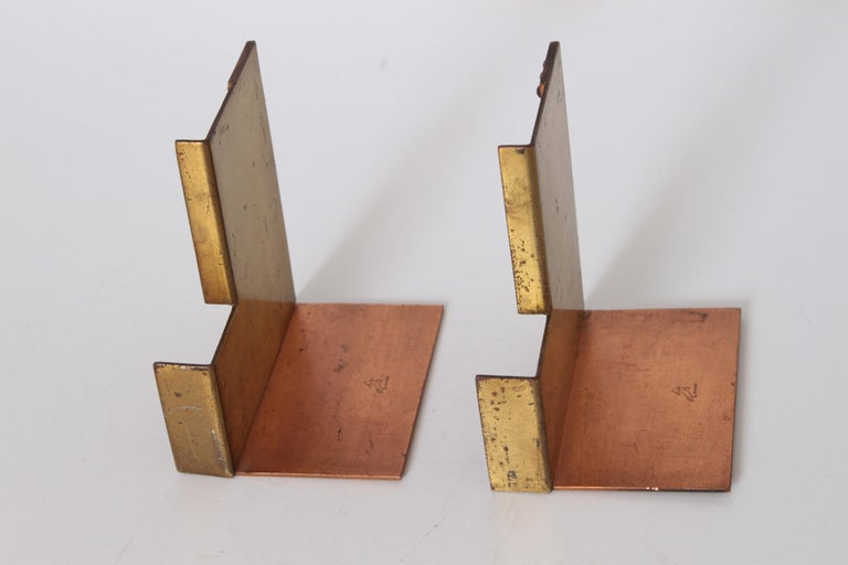 Brass Machine Age Art Deco Walter Von Nessen for Chase Moderne Bookends For Sale