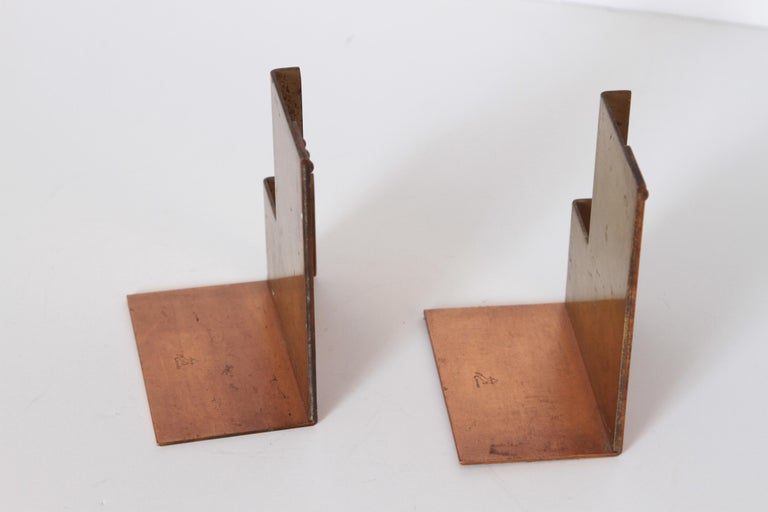 Machine Age Art Deco Walter Von Nessen for Chase Moderne Bookends For Sale 2