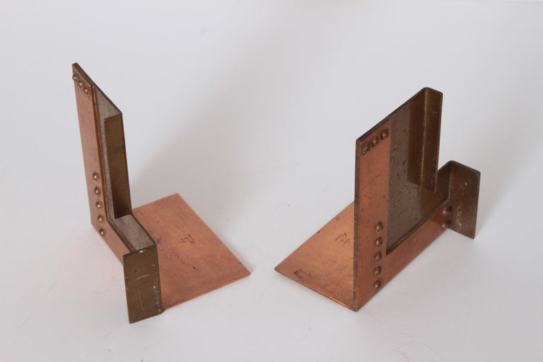 Machine Age Art Deco Walter Von Nessen for Chase Moderne Bookends For Sale 3