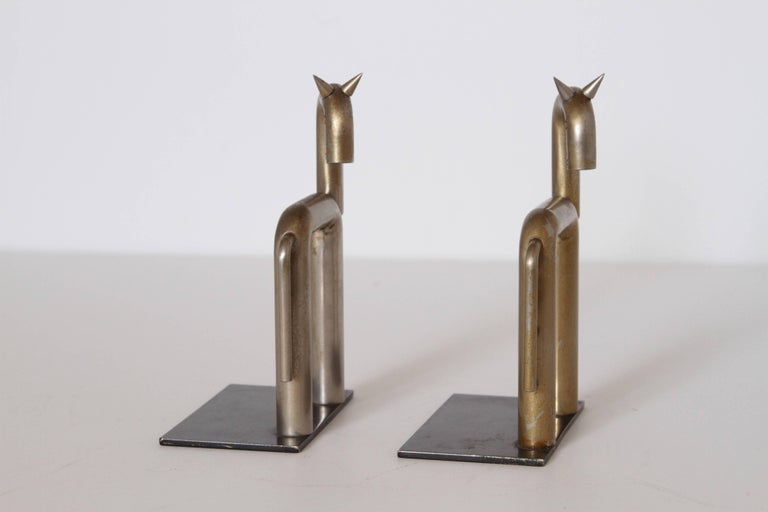 American Machine Age Art Deco Walter von Nessen Horse Bookends for Chase, Nickel Plate For Sale