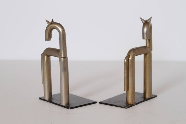 Plated Machine Age Art Deco Walter von Nessen Horse Bookends for Chase, Nickel Plate For Sale