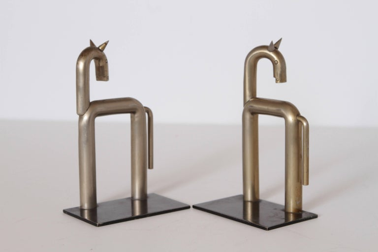 Machine Age Art Deco Walter von Nessen Horse Bookends for Chase, Nickel Plate In Good Condition For Sale In Dallas, TX