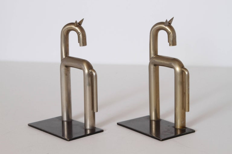 Mid-20th Century Machine Age Art Deco Walter von Nessen Horse Bookends for Chase, Nickel Plate For Sale