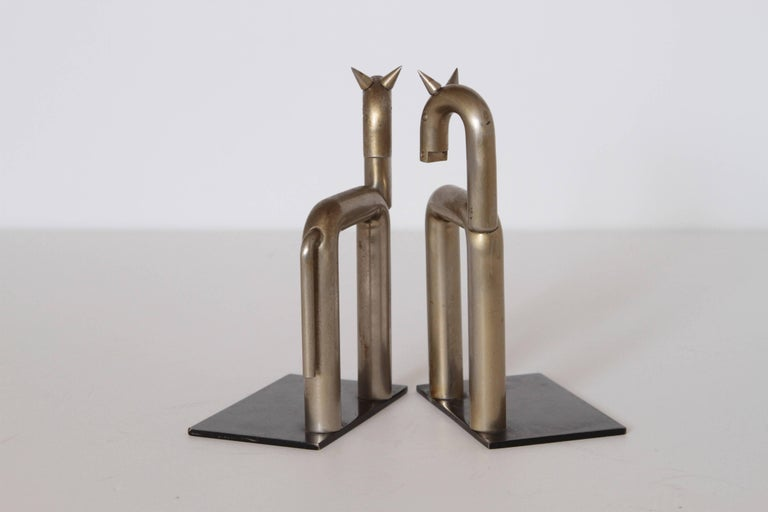 Machine Age Art Deco Walter von Nessen Horse Bookends for Chase, Nickel Plate For Sale 1