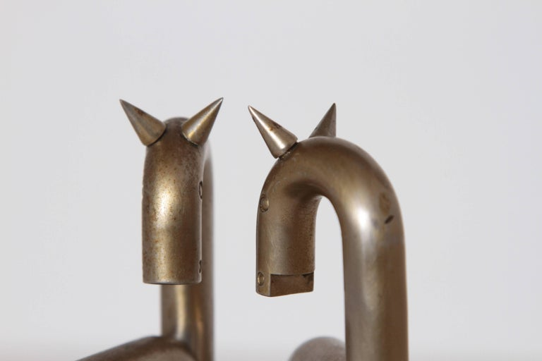 Machine Age Art Deco Walter von Nessen Horse Bookends for Chase, Nickel Plate For Sale 2