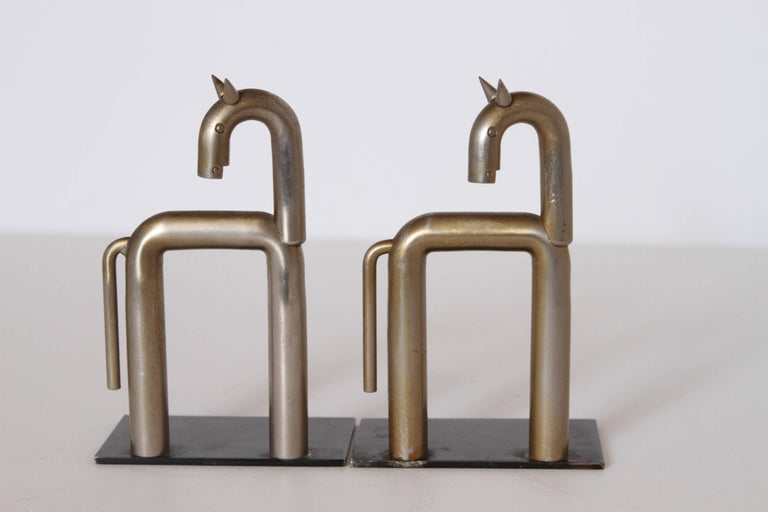 Machine Age Art Deco Walter von Nessen Horse Bookends for Chase, Nickel Plate For Sale 3