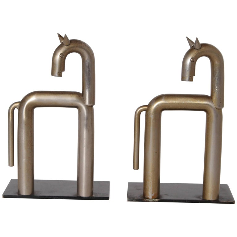Machine Age Art Deco Walter von Nessen Horse Bookends for Chase, Nickel Plate For Sale