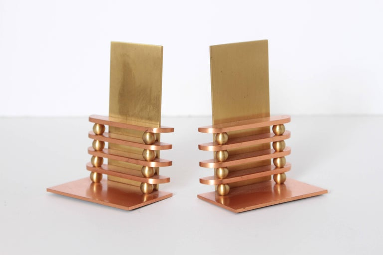 American Machine Age Art Deco Walter Von Nessen Octaball Bookends for Chase, Pair For Sale