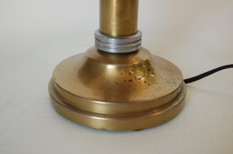 American Machine Age Brass And Aluminum Desk Lamp For Sale