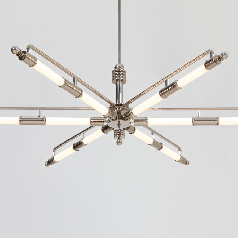 Machine Age Chandelier, Nickel-Plated Brass, Produced by GMD Berlin, Design 1928 4