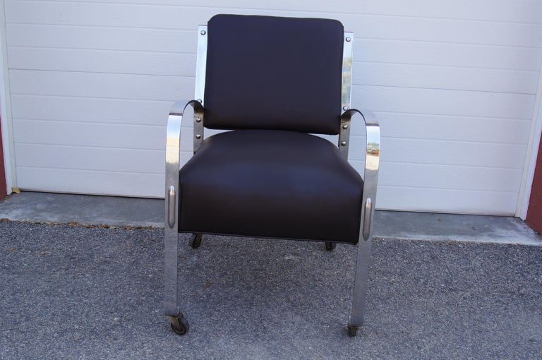 Machine Age Chrome and Leather Armchair by McKay Furniture Company For Sale