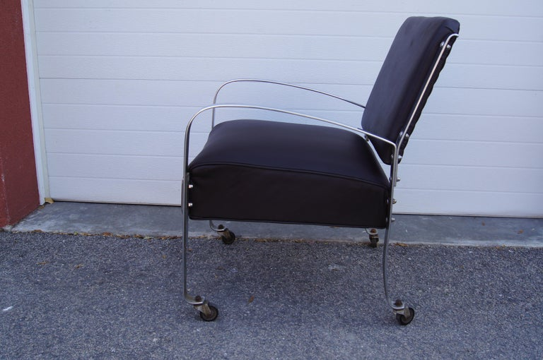 American Chrome and Leather Armchair by McKay Furniture Company For Sale