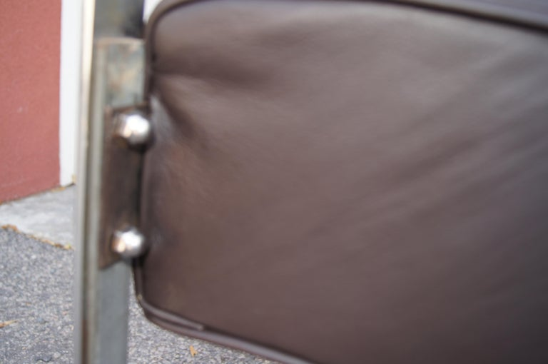 Chrome and Leather Armchair by McKay Furniture Company In Fair Condition For Sale In Boston, MA