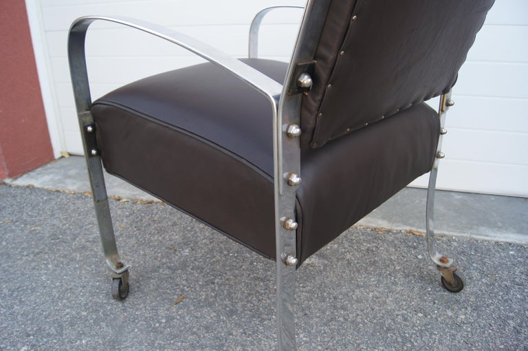 Mid-20th Century Chrome and Leather Armchair by McKay Furniture Company For Sale