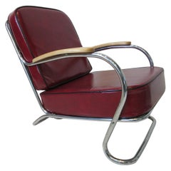 Machine Age / Deco Large Lounge Chair in the Style of Hoffmann & Howell