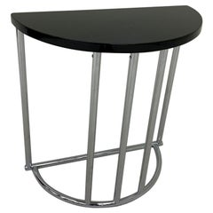 Machine Age Half Circle Art Deco Chrome and Black Side Table, Royalchrome, 1937