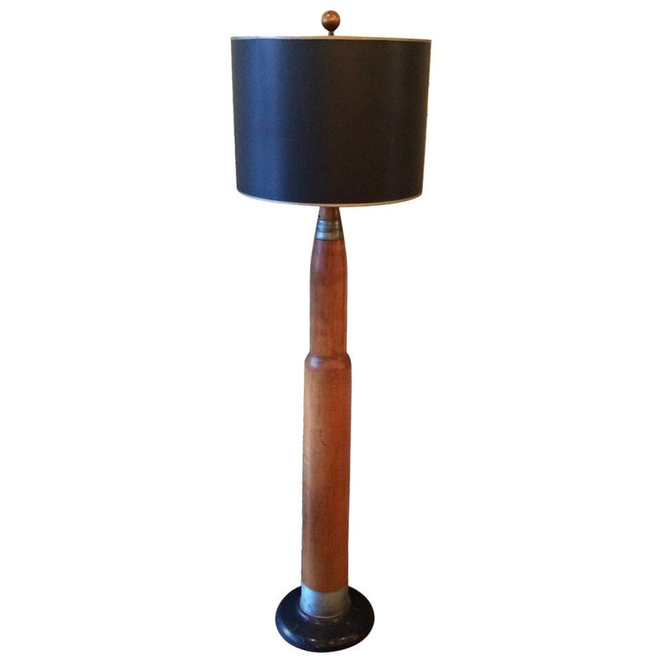 Machine Age Handmade Post-War Trench Art Floor Lamp