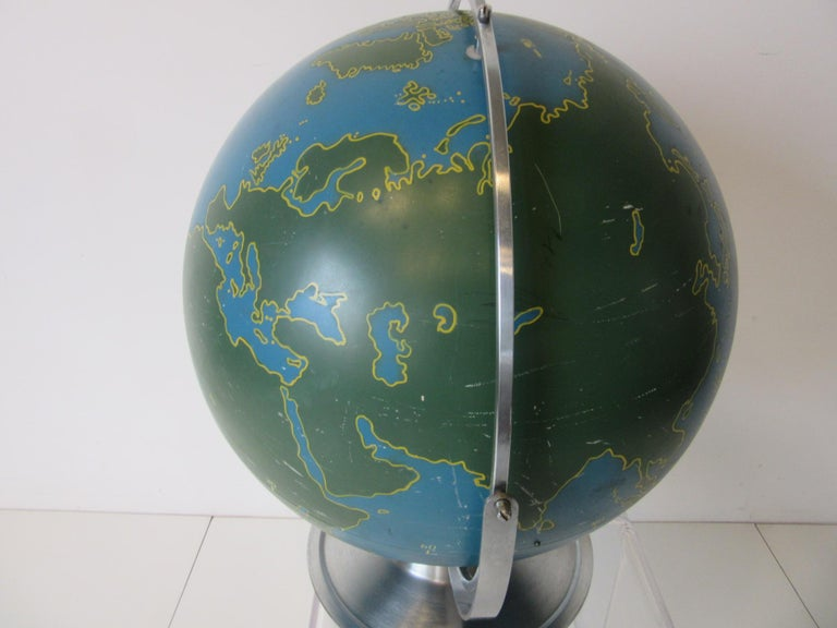 Metal Machine Age Industrial Globe by A.J. Nystrom For Sale