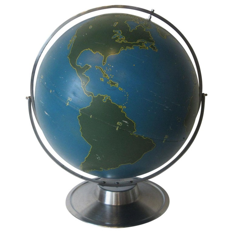 Machine Age Industrial Globe by A.J. Nystrom For Sale