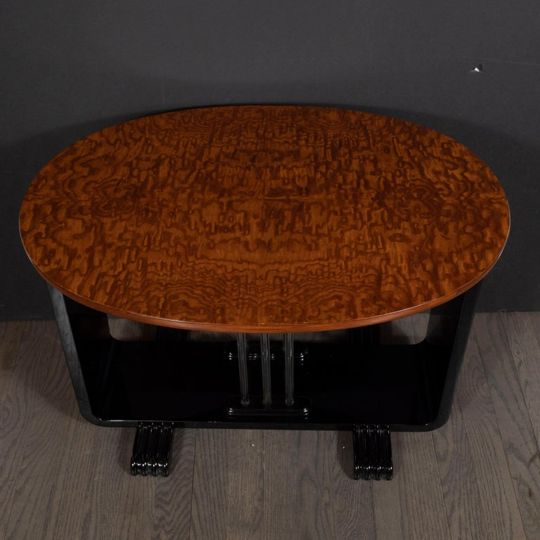 American Machine Age Streamlined Art Deco Burled Elm, Black Lacquer and Glass Side Table For Sale