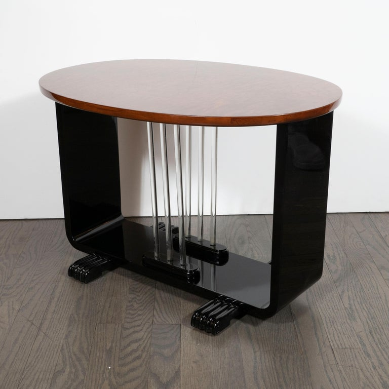 Machine Age Streamlined Art Deco Burled Elm, Black Lacquer and Glass Side Table For Sale 1