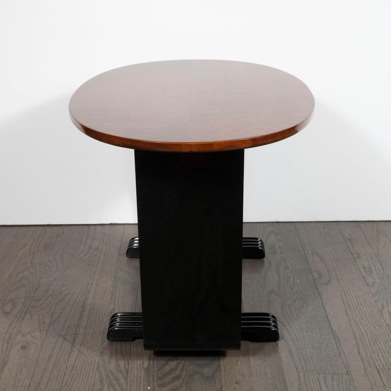 Machine Age Streamlined Art Deco Burled Elm, Black Lacquer and Glass Side Table For Sale 2