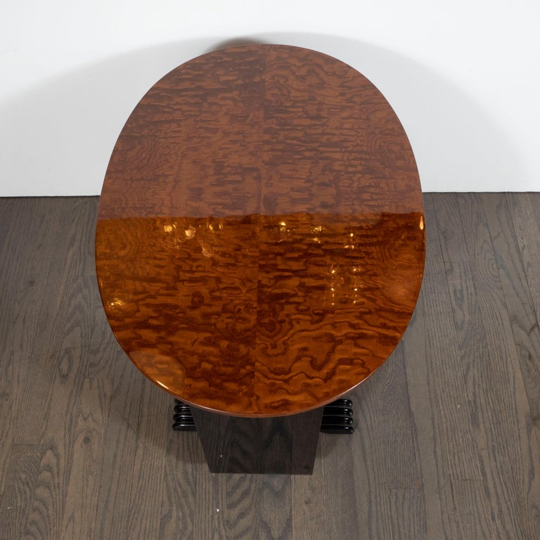 Machine Age Streamlined Art Deco Burled Elm, Black Lacquer and Glass Side Table For Sale 3